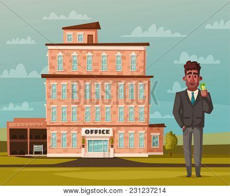 Office Building Facade. Buisness Concept. Exterior Of House. Cartoon Vector Illustration. For Web Or