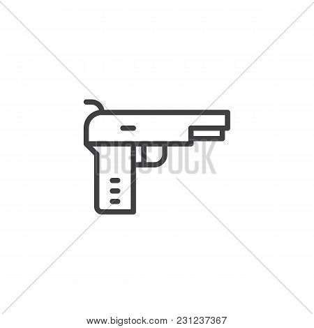 Pistol Gun Outline Icon. Linear Style Sign For Mobile Concept And Web Design. Handgun Simple Line Ve