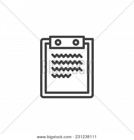 Paper Clipboard Outline Icon. Linear Style Sign For Mobile Concept And Web Design. Clipboard With Re