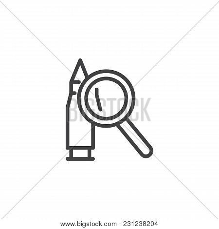 Bullet And Magnifying Glass Outline Icon. Linear Style Sign For Mobile Concept And Web Design. Searc
