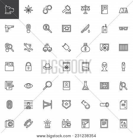 Crime Investigation Outline Icons Set. Linear Style Symbols Collection, Line Signs Pack. Vector Grap