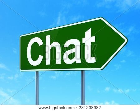Web Development Concept: Chat On Green Road Highway Sign, Clear Blue Sky Background, 3d Rendering