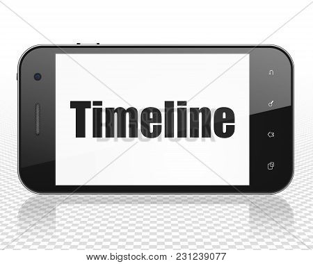 Timeline Concept: Smartphone With Black Text Timeline On Display, 3d Rendering