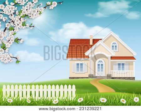 Spring Landscape. Country House On A Hill. Grass And Flowering Tree Branches In The Foreground.