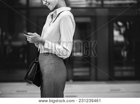 A cheerful white woman concept