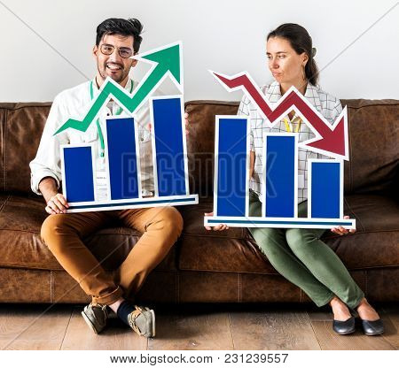 Workers sitting on couch holding infographic icon