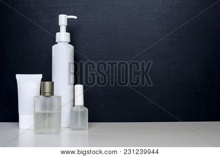 Realistic Empty Tubes For Cosmetics. Set With Cosmetic Bottles, Flask, Cream Tube, Perfume, Nail Pol