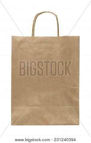 Paper Bag With Handle Isolated On White Background