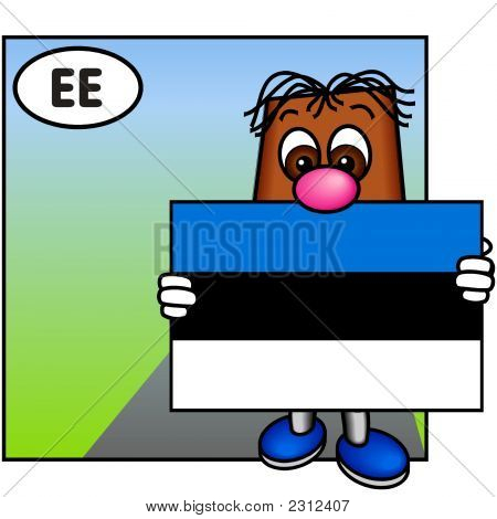 'Brownie' Showing The Flag Of Estonia