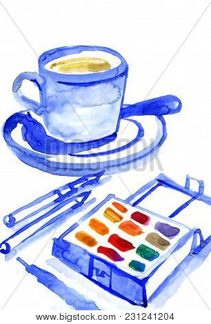 Workspace. Logo Painted With Watercolor On Paper, Spool With Blue Ribbon, Sketchbook, Pot, Palette,