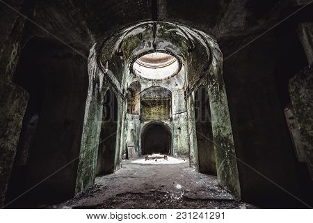 Window In Old Fortress. Empty Hall In Abandoned Military Fort. Room In Old Castle.