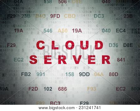 Cloud Computing Concept: Painted Red Text Cloud Server On Digital Data Paper Background With Hexadec