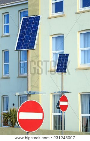 Small Solar Panels On The Street In Town Seaton, Devon