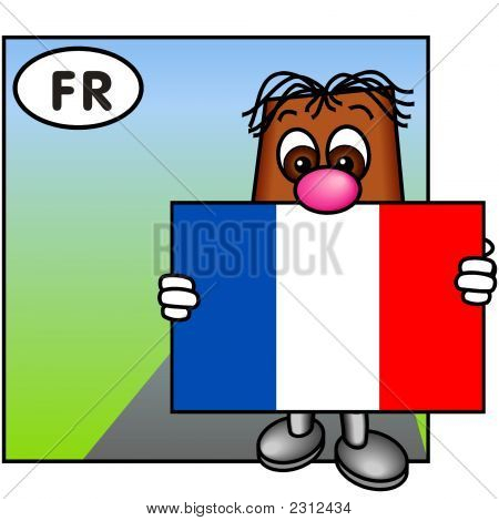 'Brownie' Showing The Flag Of France