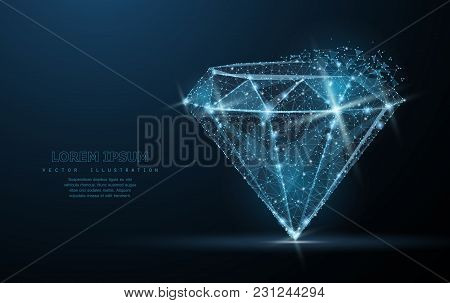 Diamond. Low Poly Wireframe Mesh With Crumbled Edge And Looks Like Constellation On Blue Night Sky W
