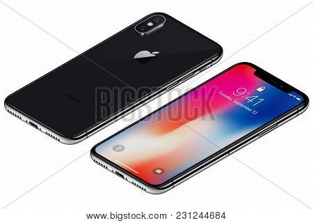 Varna, Bulgaria - January 23, 2018: Isometric Space Gray Apple Iphone X Front Side With Ios 11 Locks