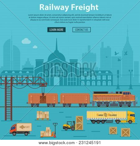 Railway Freight Delivery And Logistics With Flat Icons Train, Delivery, Station, Truck, Rails And Fo