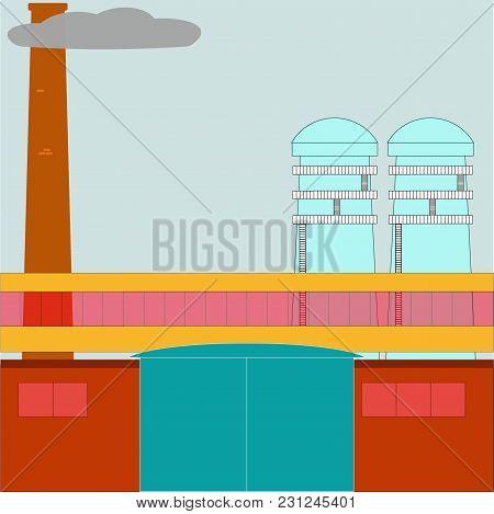 Vector Illustration Of Manufacturing Factory Building. Industrial Flat Illustration