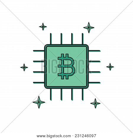Cryptocurrency Bitcoin Chip Thin Line Flat Design Icon Vector Illustration. Editable Stroke