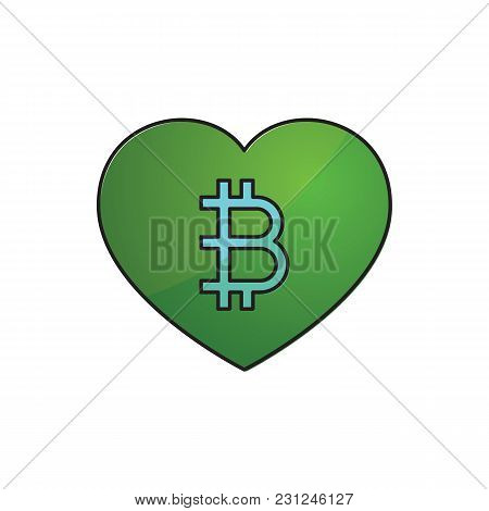 Cryptocurrency Bitcoin Love Heart Thin Line Flat Design Icon Vector Illustration. Editable Stroke