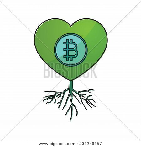 Cryptocurrency Bitcoin Love Heart With Root Thin Line Flat Design Icon Vector Illustration. Editable
