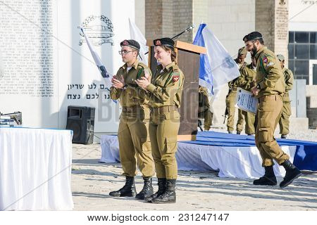 Latrun, Israel - March 13, 2018: The Soldiers Of Israel In The Museum Of Armored Corps Latrun, Israe