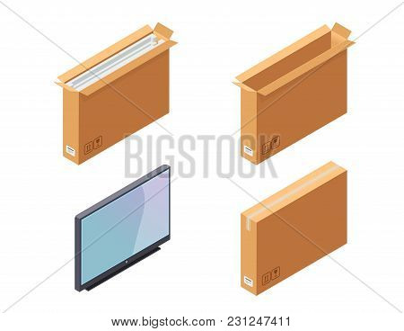 Wide Carton Box. Plasma Tv And Package. Isometric View. Vector Icons Set Isolated On White Backgroun