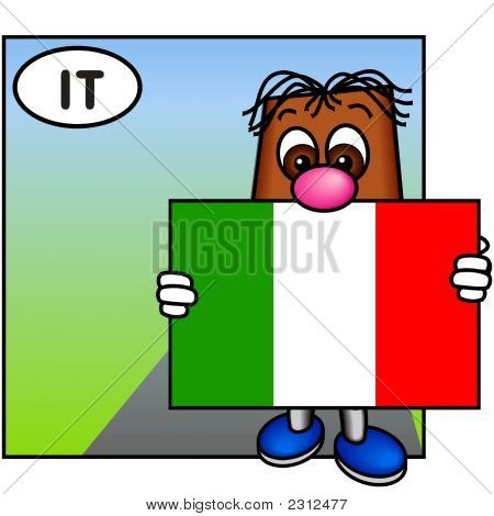 'Brownie' Showing The Flag Of Italy