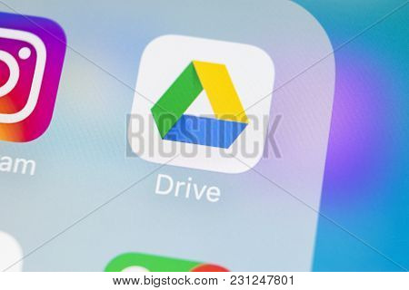 Sankt-petersburg, Russia, March 14, 2018: Google Drive Application Icon On Apple Iphone X Screen Clo