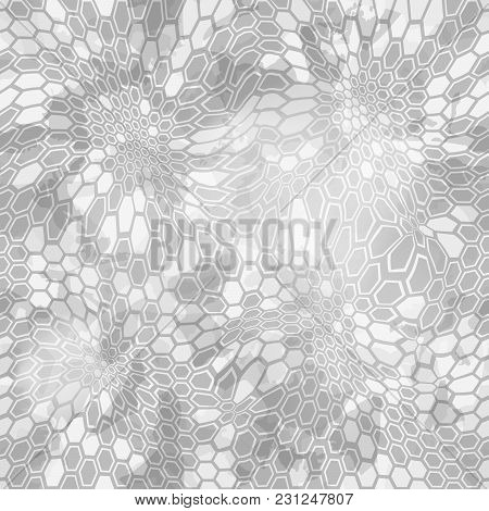 Hexagonal Snow Camouflage Seamless Patttern. Abstract Geometric Camoflage Print Texture For Fabric T