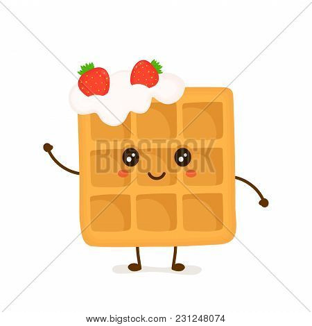 Cute Smiling Funny Viennese Waffle With Whipped Cream And Strawberries. Vector Flat Cartoon Illustra