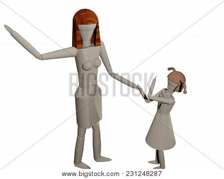 Mother Is Taking Off To Hit Her Daughter (3d Rendering)