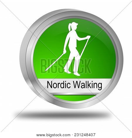 Green Nordic Walking Button - 3d Illustration