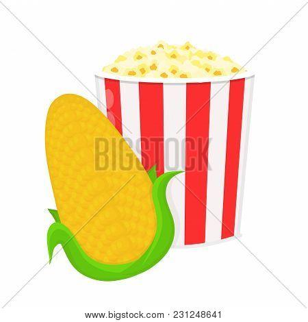 Corncob And Bucket Of Popcorn.vector Flat Cartoon Illustration Icon. Isolated On White Background.co