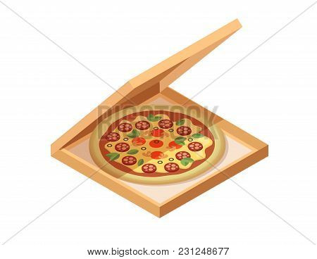 Pizza Cardboard Box. Isometric View. Opened And Closed Package. Vector Illustration Isolated On Whit