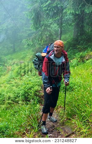 Happy Hiker Stands In Foggy Forest Among Lush Greenery, Smiles And Looking Into The Distance. Awesom