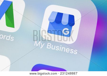Sankt-petersburg, Russia, March 14, 2018: Google My Business Application Icon On Apple Iphone X Scre
