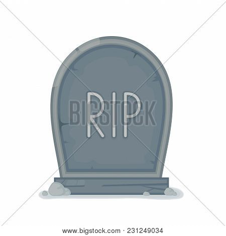 Old Gravestone With Cracks. Ancient Rip. Vector Flat Cartoon Illustration Icon Design. Isolated On W