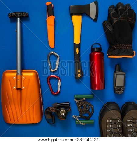 Kit Of Gear For Hiking, Adventure And Survival In Wilderness During Winter - Boots, Avalanche Shovel