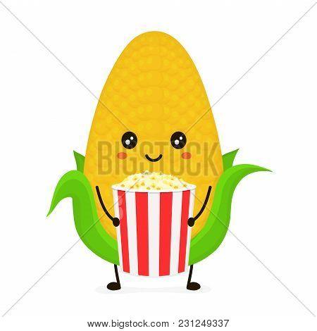 Funny Happy Cute Smiling Corncob With A Bucket Of Popcorn. Vector Flat Cartoon Character Illustratio
