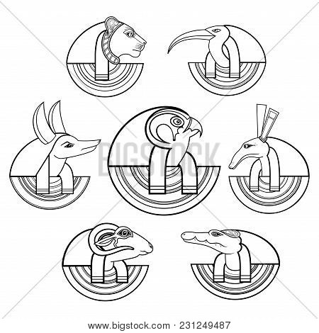 Vector Set Of Black Isolated Contour Silhouettes. Gods Of Ancient Egypt