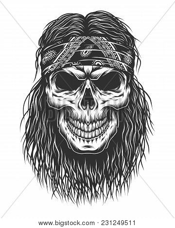 Skull With Hair And Bandana. Detailed Vector Illustration