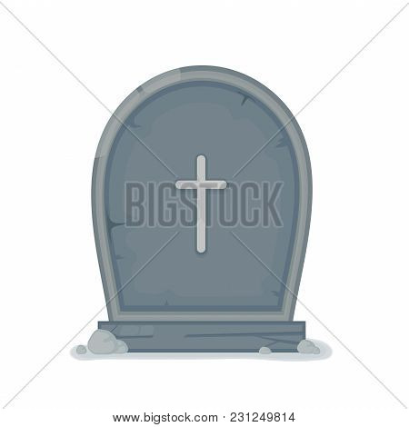 Old Gravestone With Cracks. Vector Flat Cartoon Illustration Icon Design. Isolated On White Backgrou