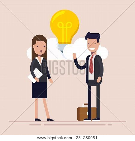 Businessman And Manager Are Discussing New Idea. Bulb Among The Clouds. Flat Vector Illustration Iso