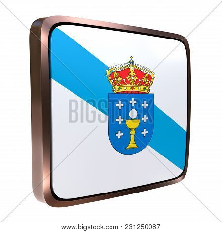 3d Rendering Of A Galicia Community Flag Icon. Isolated On White
