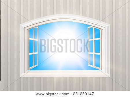 Open Window. Blue Sky And Sun Light View. Realistic 3d Style Wallpaper. Isolated White Double Caseme
