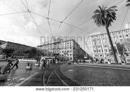 Vatican City, March 06, 2018: Black And White Picture Of The Buildings In Vatican City, Italy