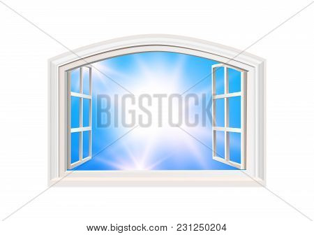 Open Window. Blue Sky And Sun Light View. Realistic 3d Style. Isolated White Double Casement Window.