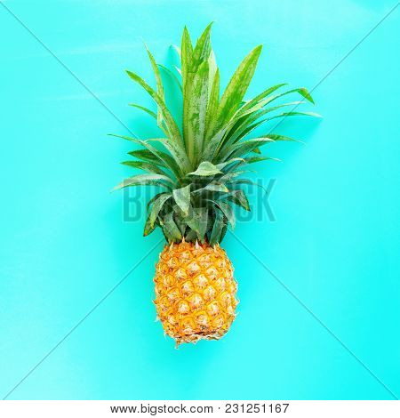 Pine Apple Tropical Fruit Turquoise Background Useful Natural Organic Food Style Minimalism Top View