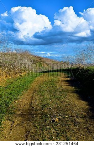 Hiking Trail Thru Rural Grasslands With Cumulus Clouds Beyond During Atmospheric Instability